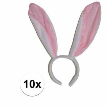 10x witte konijn / haas oren op diadeem voor volwassenen