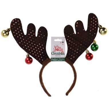 1x kerst diadeems/haarbanden bruine rendier gewei tiara/diadeem 38 cm
