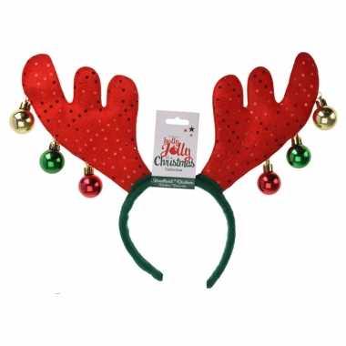 1x kerst diadeems/haarbanden rode rendier gewei tiara/diadeem 38 cm