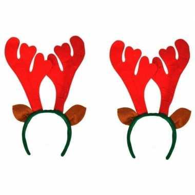 2x kerst rendier haarbanden met oren