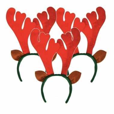3x kerst rendier haarbanden met oren