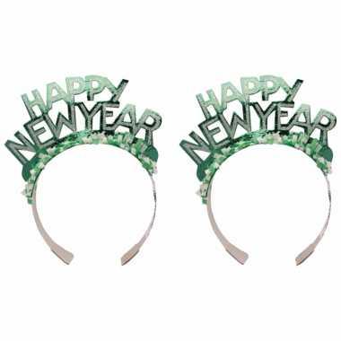 3x stuks diadeem happy new year groen voor volwassenen