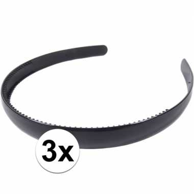 3x zwarte dames diadeem/haarband 1,5 cm breed