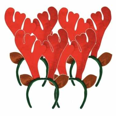 4x kerst rendier haarbanden met oren