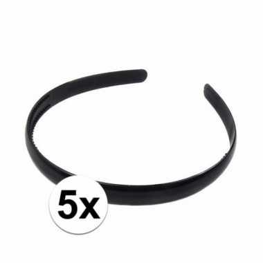 5x zwarte dames diadeem haarband