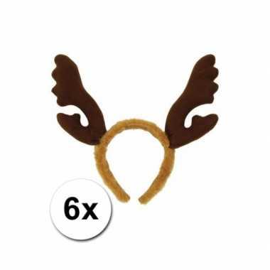 6 kerst rendier haarbanden