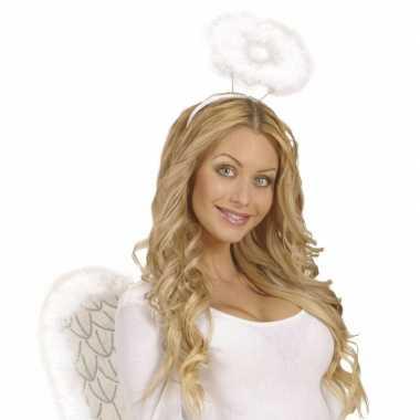 6x engel verkleed diademen wit met halo