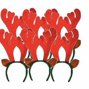 6x kerst rendier haarbanden met oren