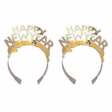 6x stuks diadeem happy new year geel voor volwassenen