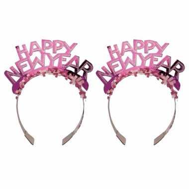 6x stuks diadeem happy new year roze voor volwassenen