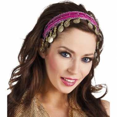 Buikdanseres hoofdband diadeem fuchsia roze dames verkleedaccess