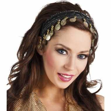Buikdanseres hoofdband diadeem zwart dames verkleedaccessoire