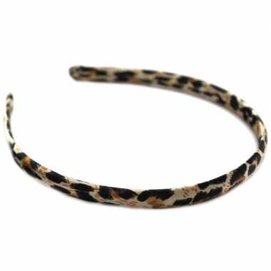 Dames diadeem/haarband met bruine panter dierenprint