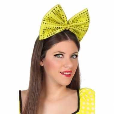 Diadeem grote gele strik met pailletten voor dames
