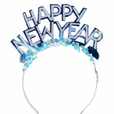 Diadeem happy new year blauw voor volwassenen