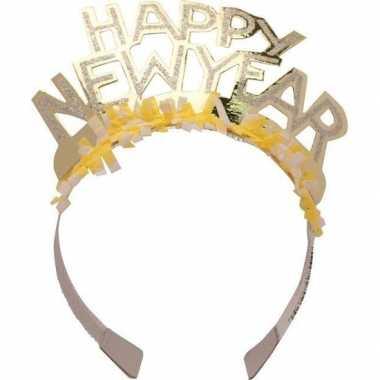 Diadeem happy new year geel voor volwassenen
