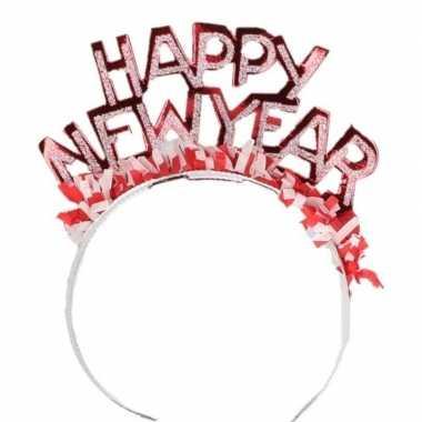 Diadeem happy new year rood voor volwassenen