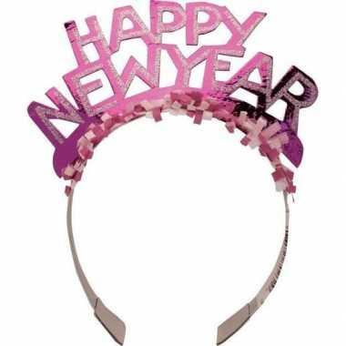 Diadeem happy new year roze voor volwassenen