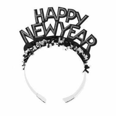 Diadeem happy new year zwart voor volwassenen