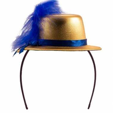Feesthoedje goud met blauw