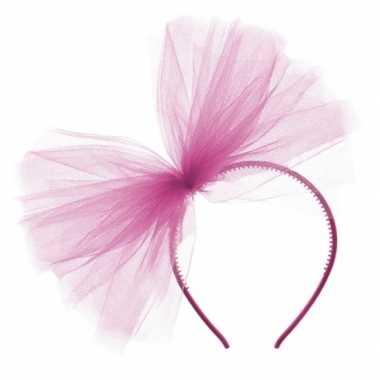 Fuchsia roze tule haarband voor dames