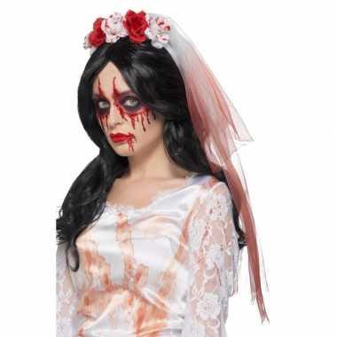Halloween - haarband met bebloede sluier en rozen