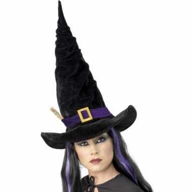 Halloween - heksen hoed zwart met paars