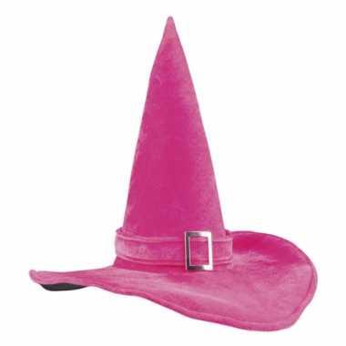Halloween heksenhoed roze met gesp