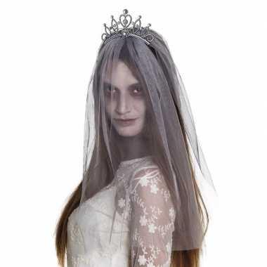 Halloween - zilveren kroontje met grijze sluier voor volwassenen