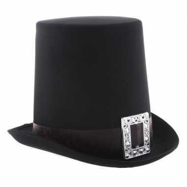 Halloween - zwarte halloween hoge hoed met gesp voor volwassenen