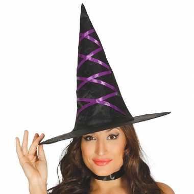 Halloween - zwarte heksenhoed met paars lint voor dames
