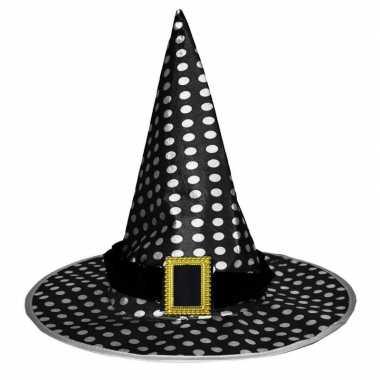 Halloween - zwarte heksenhoed met stippen voor volwassenen
