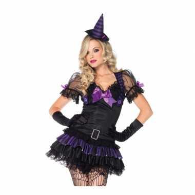 Heksen kostuum zwart paars voor dames