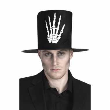 Hoge hoed zwart met skelet hand