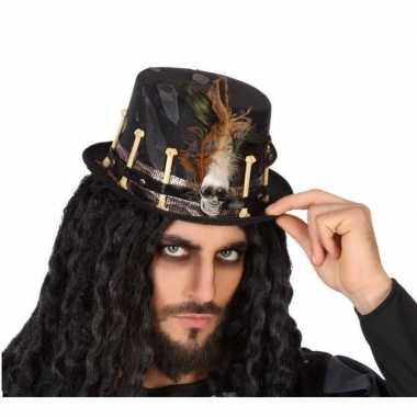 Horror verkleed hoed zwart met botten voor volwassenen