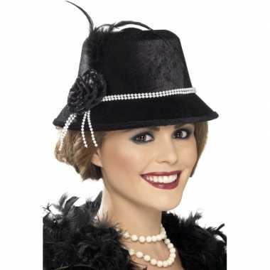 Jaren 20 hoedje met parelsnoer