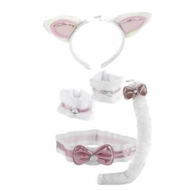 Katten/poezen verkleed set roze/wit 5 delig voor kinderen