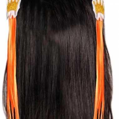 Kroon haarclips met oranje haar