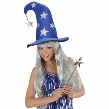 Magier muts met sterren blauw