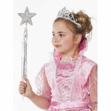 Meisjes prinses tiara zilverkleurig