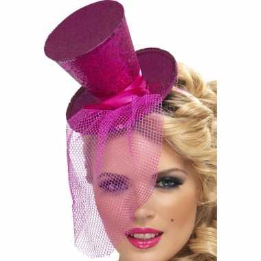 Mini hoedje roze op haarband