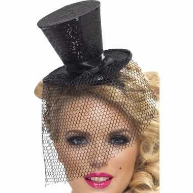 Mini hoedje zwart op haarband