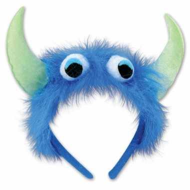 Monster verkleed haarband blauw/groen