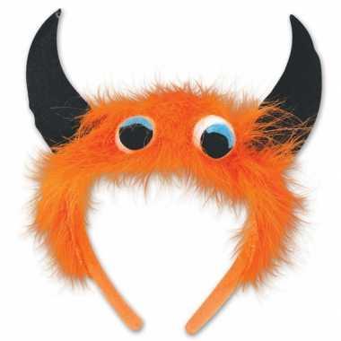 Monster verkleed haarband oranje/zwart