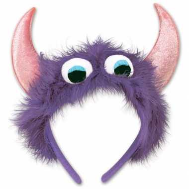 Monster verkleed haarband paars/roze