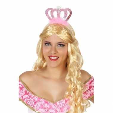 Prinses/koningin verkleed diadeem met roze kroon