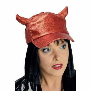 Rode glitter pet/cap met duivel hoorntjes voor volwassenen