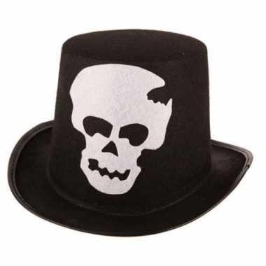 Thema hoed zwart met schedel voor volwassenen