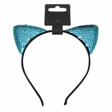 Turquoise blauwe katten poezen oren verkleed diadeem voor meiden
