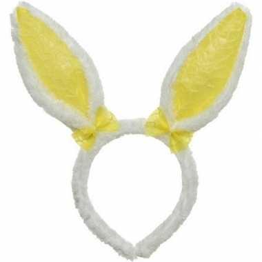 Wit gele konijn haas oren verkleed diadeem voor kids volwassenen